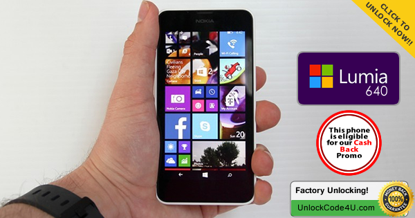Factory Unlock Code for Microsoft Lumia 640 any network worldwide