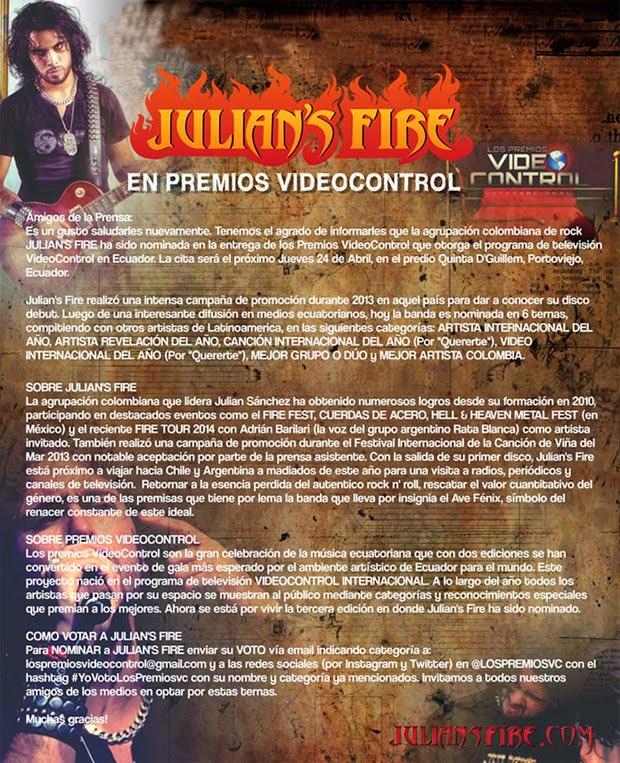Julian's-Fire-Premios-VideoControl-Ecuador-2014