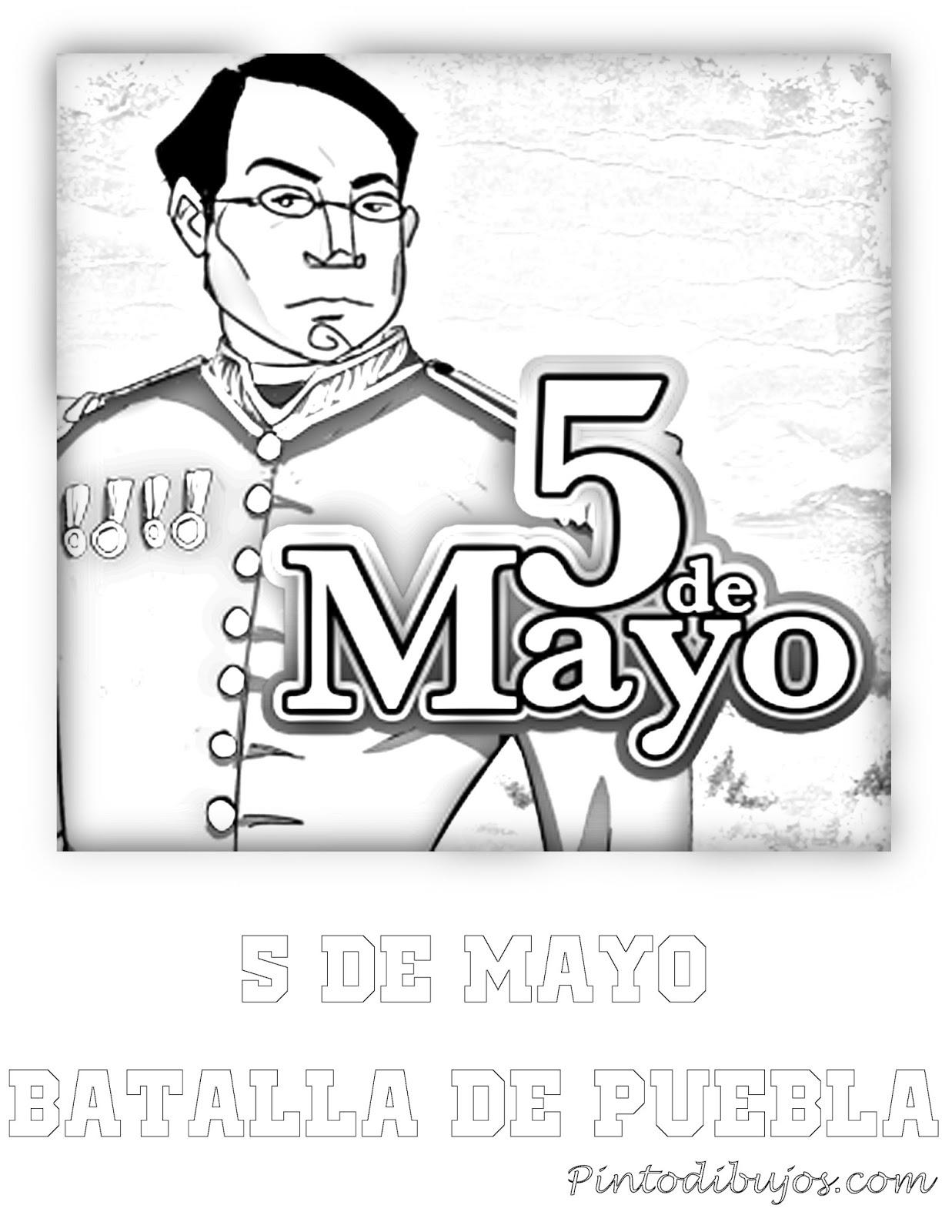 Dibujo del 5 de mayo para colorear | batalla de puebla para colorear