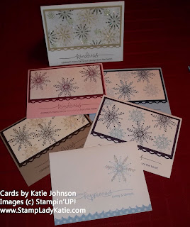 Christmas Cards made with a Stampin'UP! set called Serene Snowflakes