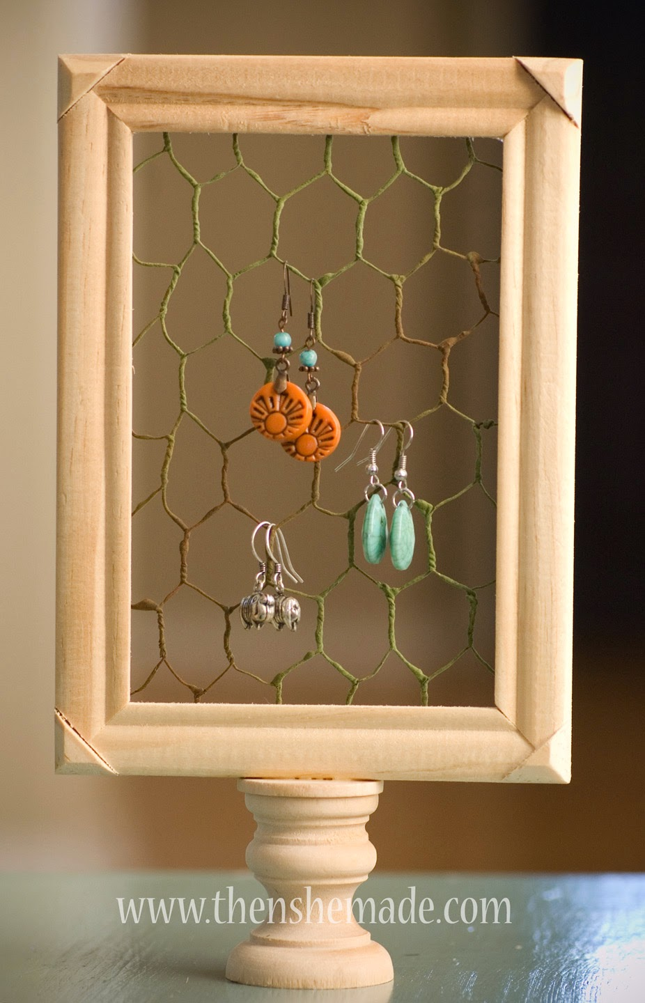 Then she made 0315 a cute little framed pedestal earring holder that can sit on a dresser window sill bathroom counter or other small space jeuxipadfo Image collections