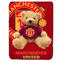 Jual Selimut Kendra Soft Panel Blanket Manchester United Bear
