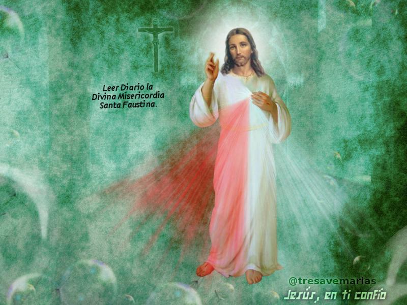 imagen de jesus misericordioso con fondo verde y una cruz