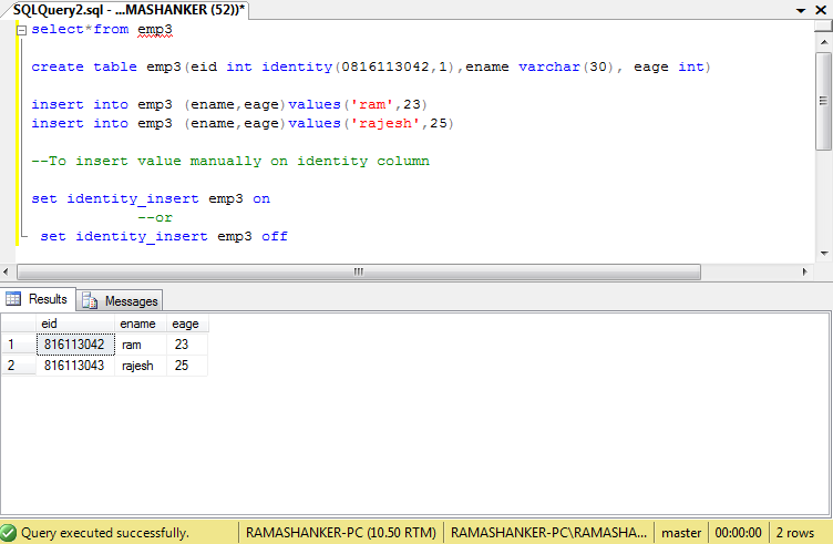 Jayant blog how to add an identity on column in sql server 2008 - Alter table drop column sql ...