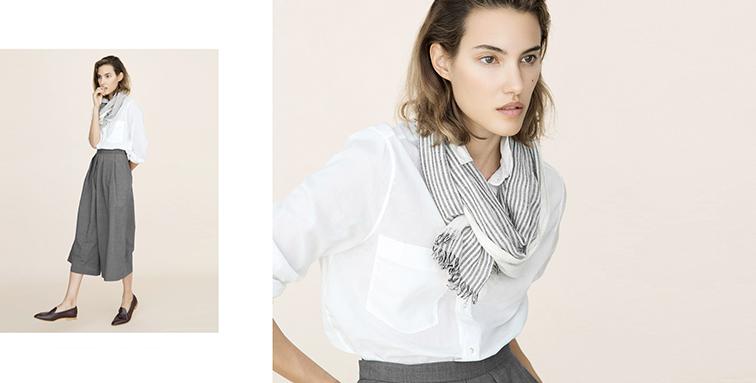 Everlane cotton lawn shirt, lightweight scarf