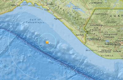 Epicentro sismo 5,7 grados en Chiapas, Mexico