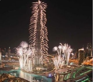 New Year 2012 Eve Celebrations in Dubai, UAE, Fireworks around Burj Khalifa skyscraper -Travel Europe Guide