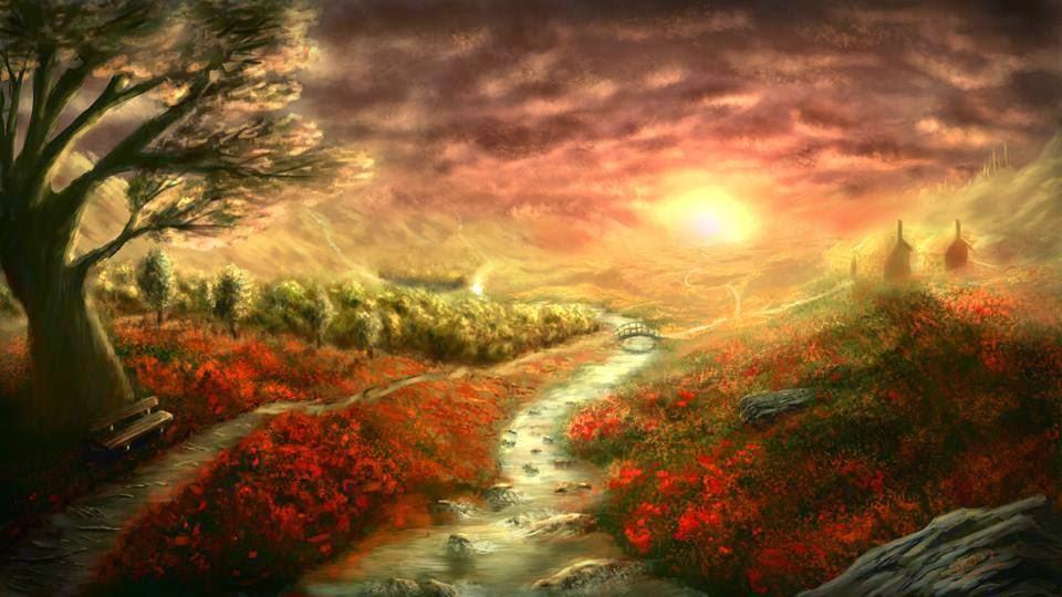 Red Landscape Paint