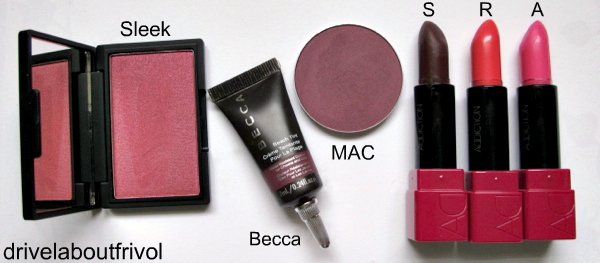 blush swatch Sleek Pomegranate Becca Beach Tint Raspberry MAC Dirty Plum Addiction Cheek Stick Suspicious, Revenge Amazing