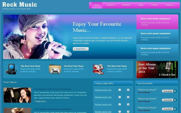 Free CSS Pink Blue Music HTML Web Website Template Free Web - Music website templates