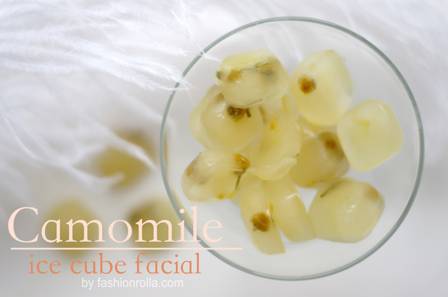 Beauty trick- camomile ice cube facial. Blogged and photographed by Xenia Kuhn for fashionrolla.com