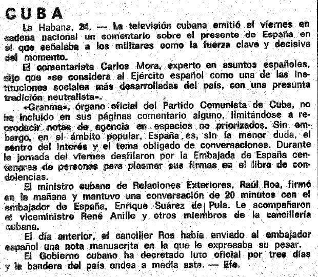 Relaciones Cuba-España en el Franquismo Vanguardia