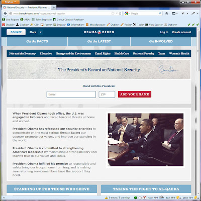 Screen shot of http://www.barackobama.com/record/national-security.