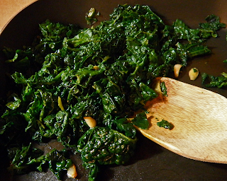 Garlic Ginger Kale in Saute Pan