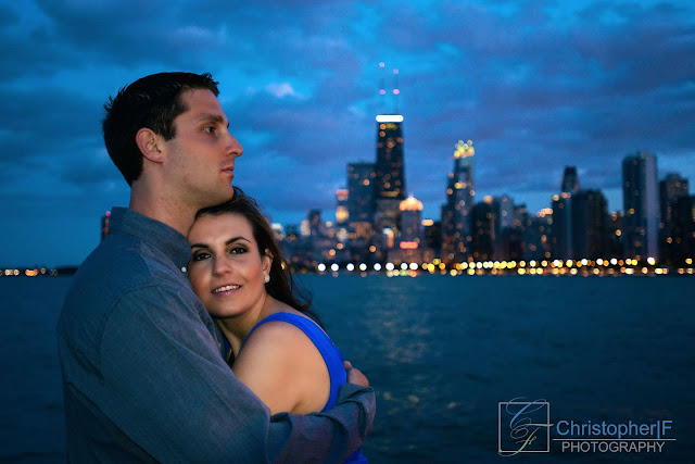 Chicago Lake Front Night Engagement Photo
