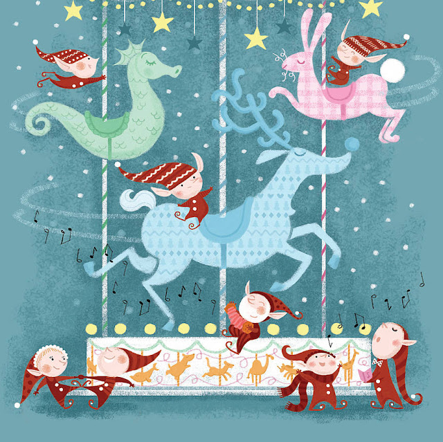 original carousels christmas art print