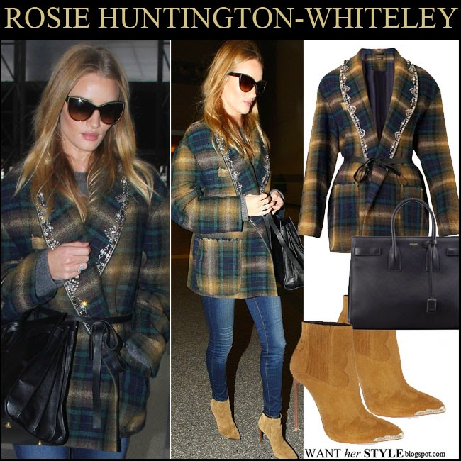 Rosie Huntington-Whiteley in green check print jacket with embellished lapels Isabel Marant Milroy, tan suede ankle boots Saint Laurent Paris November 20 want her style
