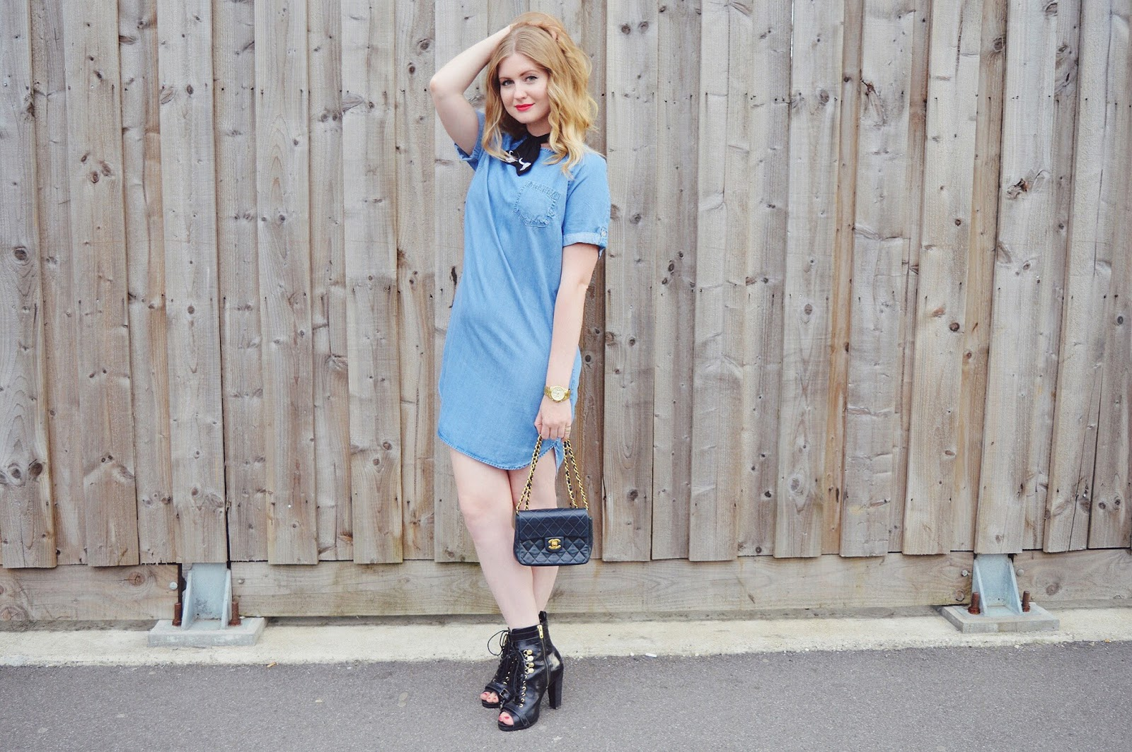 Denim shift dress from Tesco, FashionFake, fashion bloggers