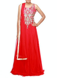 Elegant Red Anarkali Gown Designs