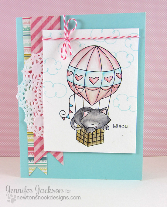 Kitty in Hot Air Balloon Card by Jennifer Jackson | Newton Dreams of Paris Cat Stamp set by Newton's Nook Designs #paris #newtonsnook