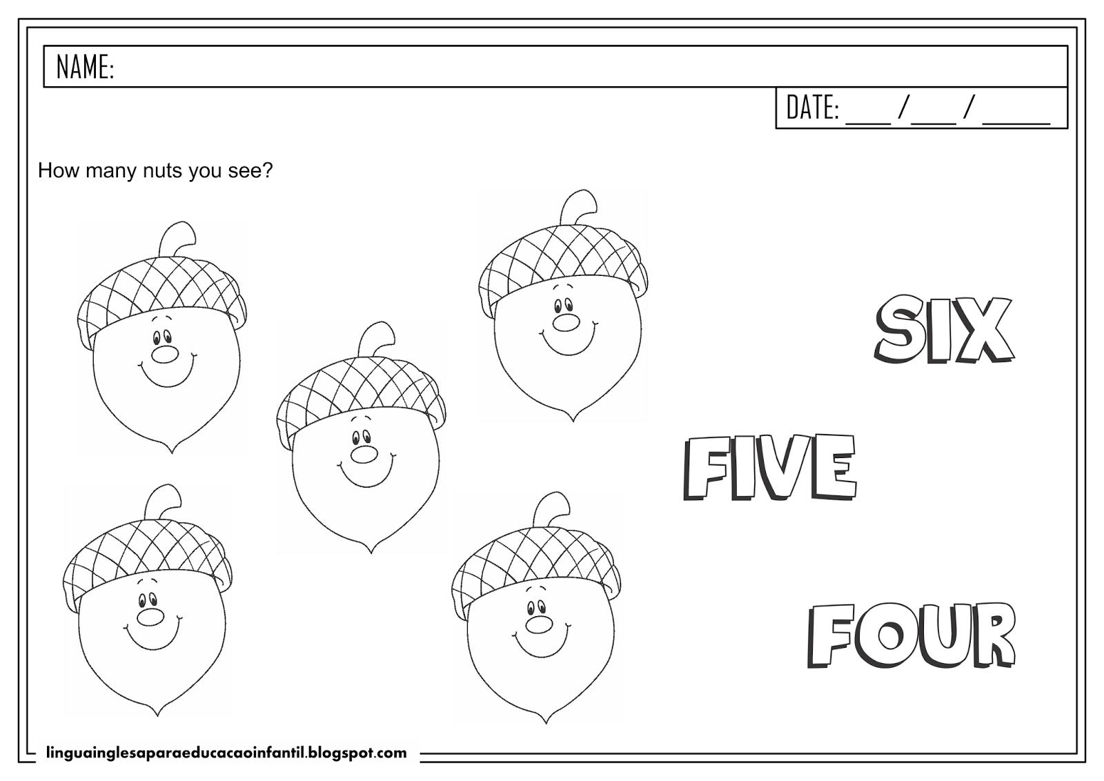 Atividade de inglês - Número 5 para educação infantil