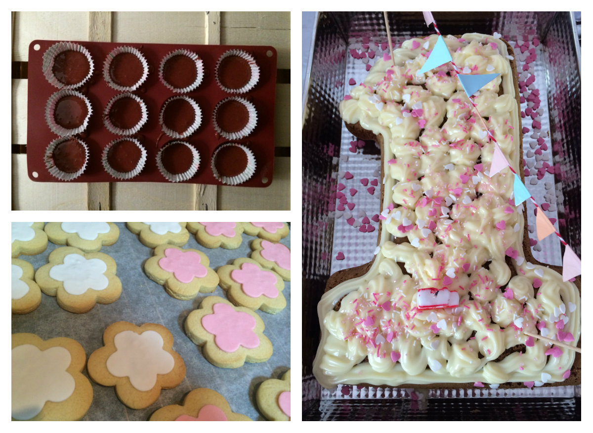 Collage de dulces con cupcakes, galletas y tarta