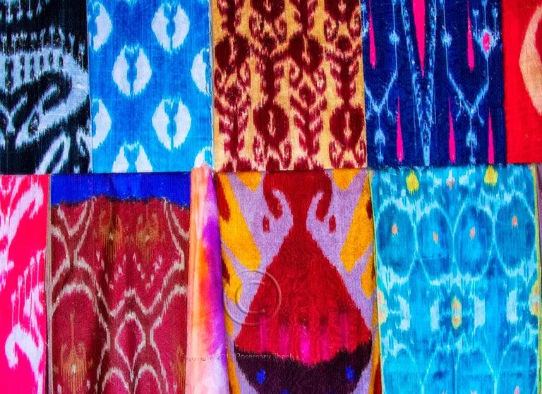 ferghana silk ikats, uzbekistan textile tours, uzbek ikat design
