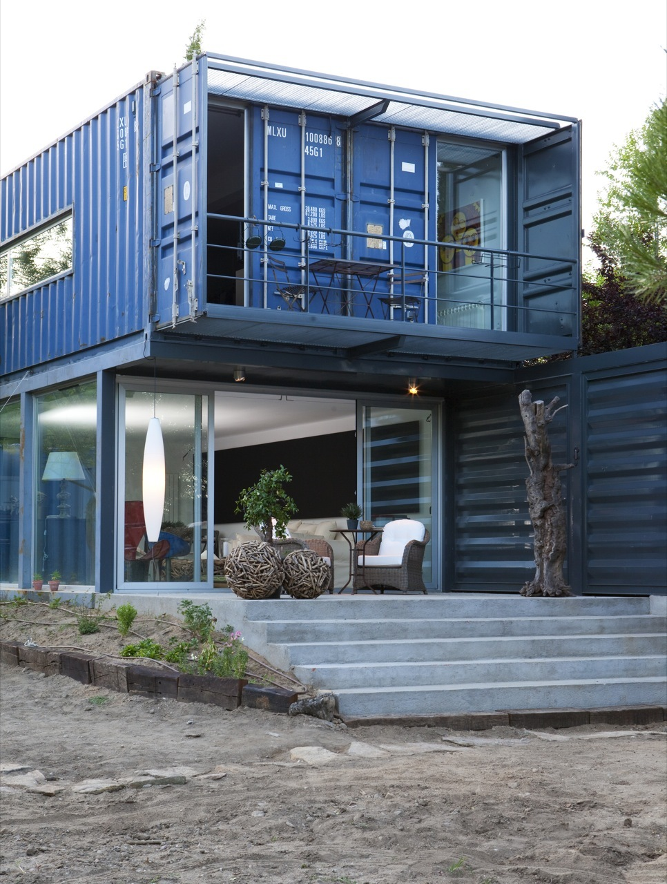 Shipping container homes two story container house in el for Shipping container home building plans