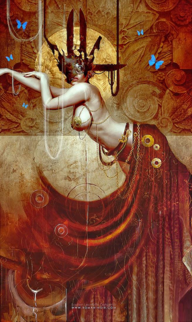 illustration femme nue steampunk