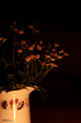 Bunch of autumn flowers in candlelight
