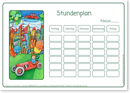 Stundenplan - INDIANER - Motiv: Seifenkiste - Format DIN A4 - Grundschule