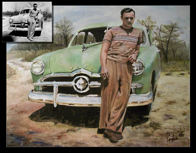 Painting of Cool 1949 black and white photo.