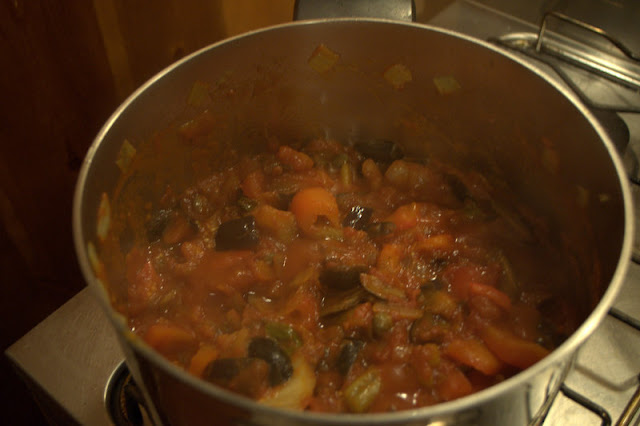 making caponata, homemade
