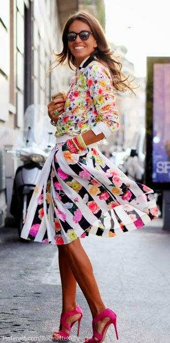 Moda de rua - tendencia padrão floral saia Fashion street