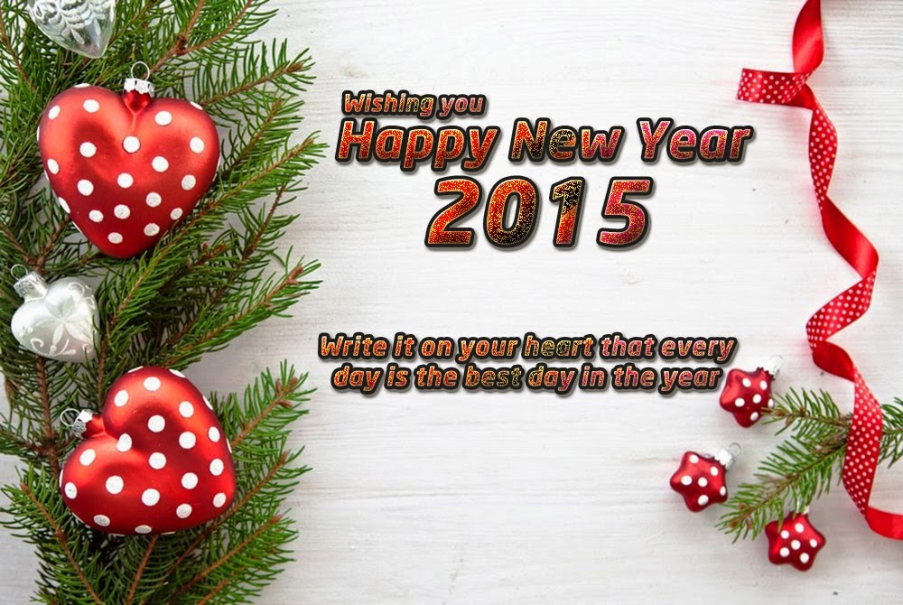 Lovely Heart Happy New Year Wishes Greetings 2015