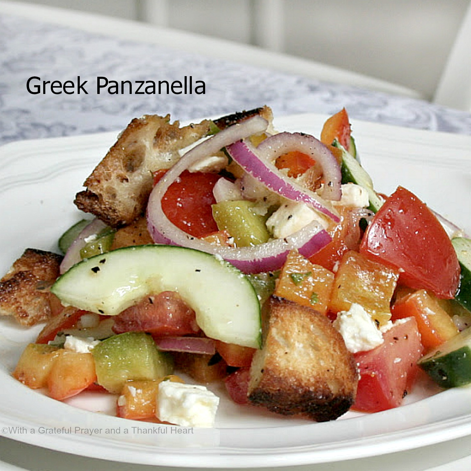 With a grateful prayer and a thankful heart greek Barefoot contessa panzanella