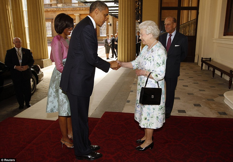 The prince and the president william greets obama and michelle at meet and greet the queen welcomes barack obama to buckingham palace watched by his wife michelle and prince philip m4hsunfo