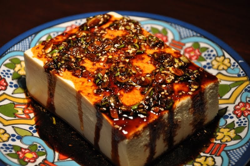 Slice of Rice: Warm Tofu with Spicy Garlic Sauce and Korean Cucumber ...