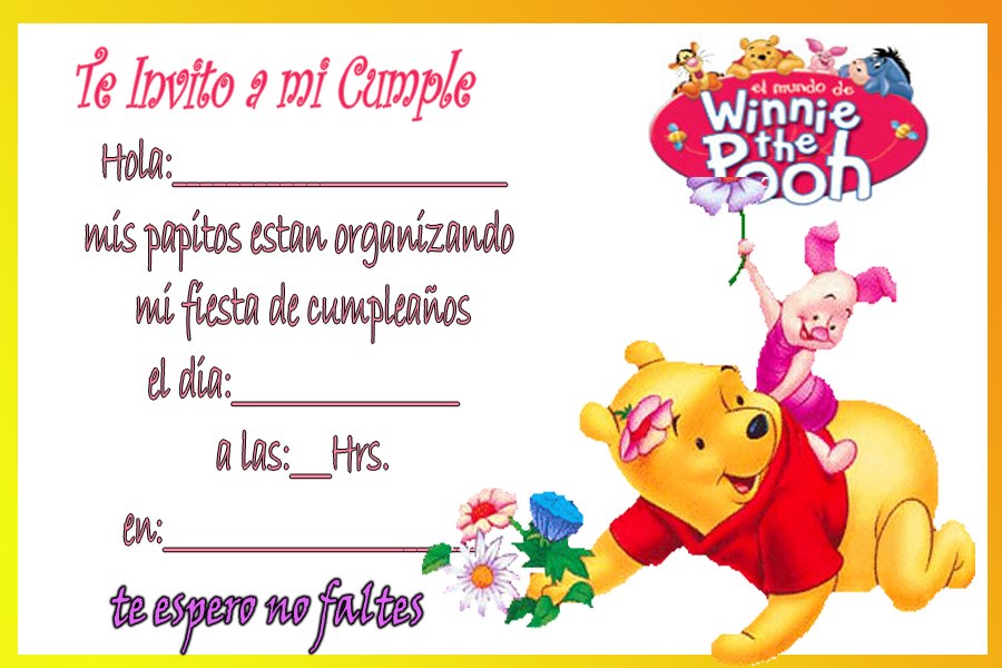 Tarjetas de Winnie Pooh bebé para imprimir - Imagui