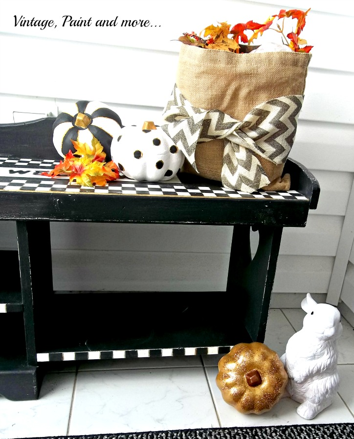 Vintage, Paint and more... whimsically painted pumpkins done in black, white and cold