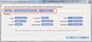 Image shows how to apply a custom naming plan to the exported .tiff email files.