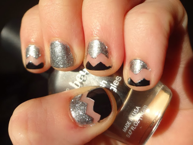 Black and silver chevron nails, aka Bailey, nail polish