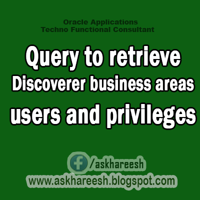 Query to retrieve Discoverer business areas, users and privileges, AskHareesh blog for Oracle Apps