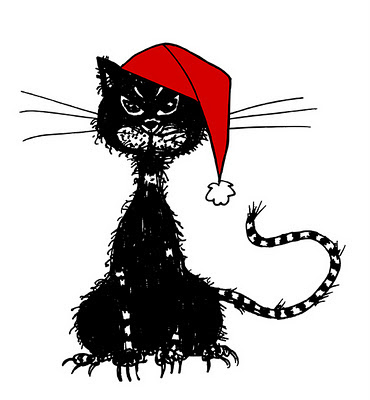Old ragged black cat wearing a Christmas hat