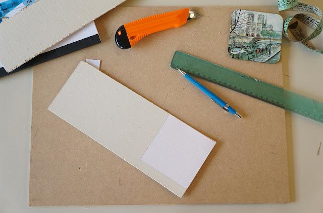 Já com o molde recortado, faço as marcações no papel panamá - blog Carina Pedro