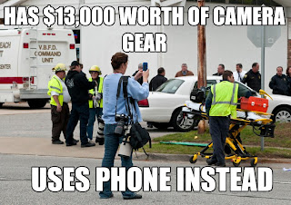 photojournalist with smartphone