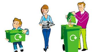 la familia reciclando