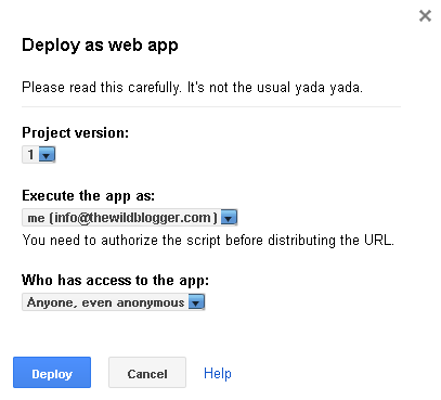 Deploy as Webapp