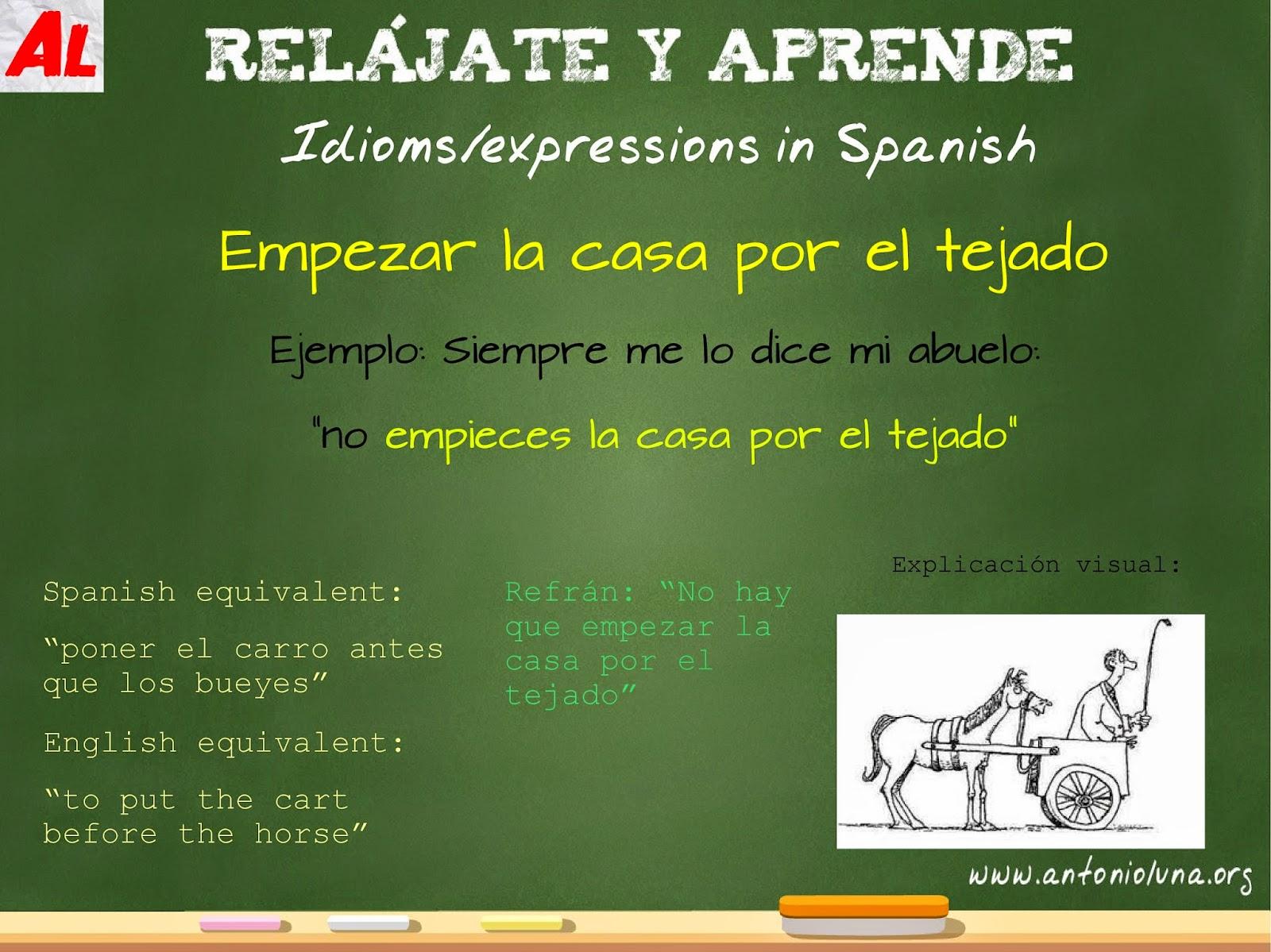 expressions in spanish empezar la casa por el tejado