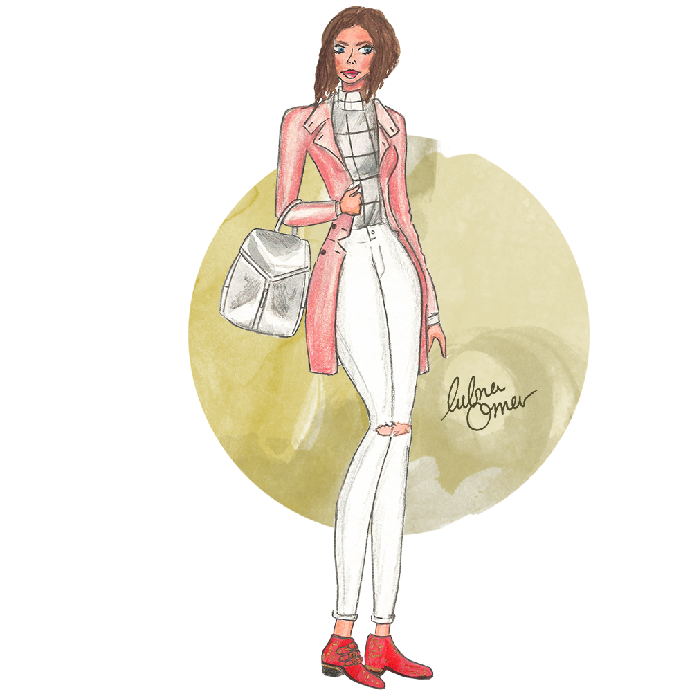 pastel coat outfit illustration by lubna omar
